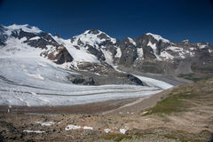 View from the Diavolezza to the mountains and glaciers Stock Photography