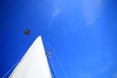 View of different parts of yacht, sail royalty free stock photos