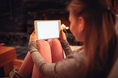 View on digital tablet in girl hand Royalty Free Stock Photo