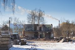 View of a dilapidated house. The destroyed walls in the process. Of demolishing the dilapidated house. Dismantling of old housing. Close-up Stock Photography