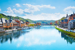 The view of Dinant from Meuse river in Belgium Royalty Free Stock Image