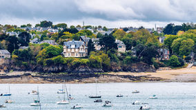 View of Dinard city with coastline full of boats. Brittany, Fran. Ce Stock Photos