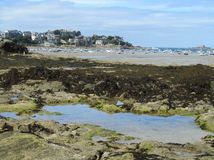 View of Dinard, France. A view of the picturesque seaside town of Dinard in Brittany, France,  at low tide Stock Images