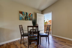 View of dining area with modern table and chair set Stock Image