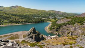 View from Dinorwic Quarry, Wales, UK. View from Dinorwic Quarry, Gwynedd, Wales, UK - with Llyn Peris, the Dinorwig Power Station Facilities and Llanberis in the stock photography