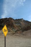 View with dip sign of death valley Royalty Free Stock Images