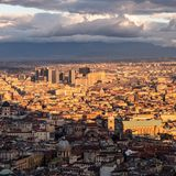 View of the directional center of naples from the national museum of san martino royalty free stock images