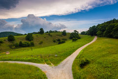 View of dirt roads and fields from the Blue Ridge Parkway at Mos Royalty Free Stock Images