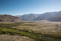 View from Diskit monastery in the Nubra Valley of Ladakh. Stock Photo