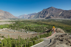 View from Diskit monastery in the Nubra Valley of Ladakh. Stock Photos