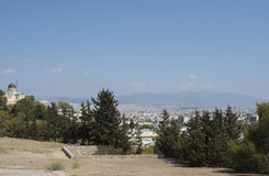 A view in the distance of athens. Athens in the far distance Royalty Free Stock Photos