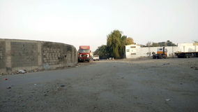 View from a distance for parked trucks stock footage