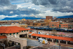 View of distant mountains and Alvarado Transportation Center in Stock Photography