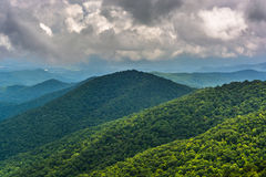 View of distant mountains from the Blue Ridge Parkway in North C Royalty Free Stock Images