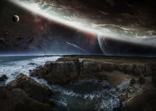 View of distant planet system from cliffs 3D rendering elements Stock Photos