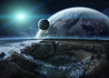 View of distant planet system from cliffs 3D rendering elements Stock Photo