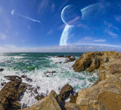 View of distant planet system from cliffs. Distant planet system view from cliffs and ocean vector illustration
