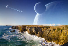 View of distant planet system from cliffs. Distant planet system view from cliffs and ocean stock illustration