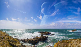 View of distant planet system from cliffs Stock Image