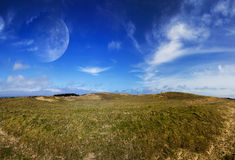 View of distant planet system from landscape Stock Photography
