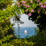 View of the distant ship in Mediteranean sea Royalty Free Stock Images