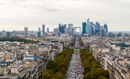 View of the district La Defense. View from the Arc de Triomphe towards business district La Defense. Paris, France Royalty Free Stock Photo