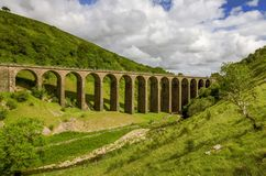 A view of the disused railway viaduct in Smardale. Royalty Free Stock Images