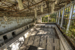 View from diving board in Asure swimming pool in Pripyat (HDR) Royalty Free Stock Photos