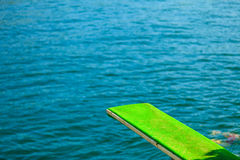 View of diving board. Springboard to dive at water. Stock Photography