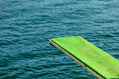 View of diving board. Springboard to dive at water. Stock Photos