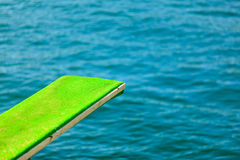 View of diving board. Springboard to dive at water. Stock Image