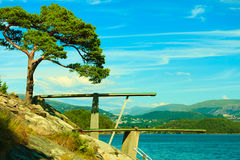 View of diving board. Springboard to dive at water. Stock Images