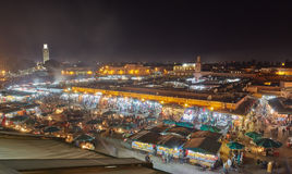 View of Djemaa el Fna, a square and market place in Marrakesh& x27;s. Night view of Djemaa el Fna, a square and market place in Marrakesh& x27;s medina quarter stock image