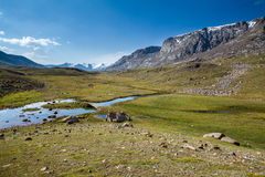 View from Djuku pass to river and mountains Stock Photography