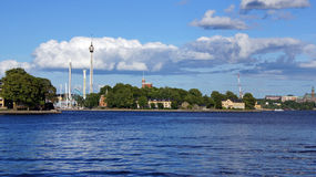 View on Djurgården from Skeppsbron in Stochholm Royalty Free Stock Images