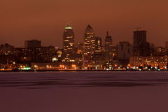 View of the Dnepr city on a foggy winter eveningin, on the frozen river Dnieper, Ukraine Stock Image