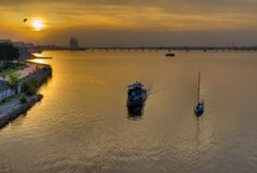 View at Dnepr river in center of Dnepropetrovsk city. At sunset time royalty free stock image