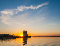 View from Dnepr river on Dnepropetrovsk city Royalty Free Stock Photography