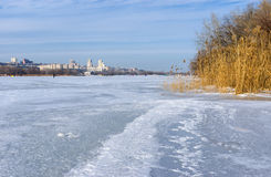 View on Dnepropetrovsk city from frozen river Dnepr. Ukranian winter landscape - view on Dnepropetrovsk city from frozen river Dnepr royalty free stock photography