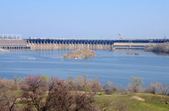 View of the Dnieper Hydroelectric Station from Khortytsia island, Ukraine Stock Photos