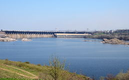 View of the Dnieper Hydroelectric Station from Khortytsia island, Ukraine Royalty Free Stock Photos