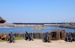 View of the Dnieper Hydroelectric Station from Khortytsia island, Ukraine Stock Images
