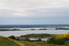 View of the Dnieper. And the island from the high bank Stock Photo