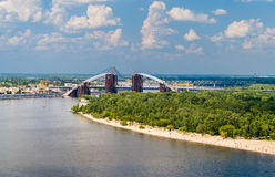 View of Dnieper river with bridges in Kiev Royalty Free Stock Photo