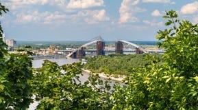 View of Dnieper river with bridges in Kiev, Ukraine Royalty Free Stock Photos