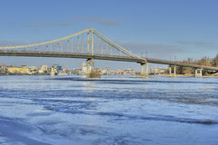 View of the Dnieper river and a footbridge royalty free stock images