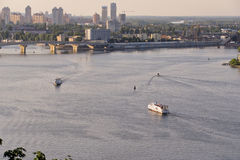 View of the Dnieper River from the high bank in Kiev. Capital of Ukraine stock image