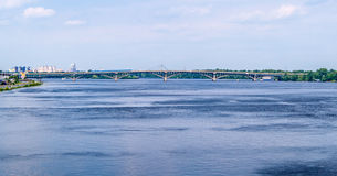 View of Dnieper river and Metro bridge Royalty Free Stock Photos