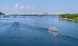 View of Dnieper river and Metro bridge. In Kiev, Ukraine Royalty Free Stock Image
