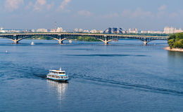 View of Dnieper river and Metro bridge in Kiev, Ukraine Stock Image